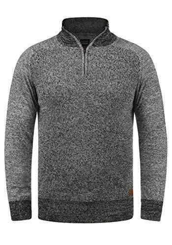 Blend Ganbolf Herren Winter Pullover Strickpullover Troyer Grobstrick mit Reißverschluss, Größe:L, Farbe:Black (70155)