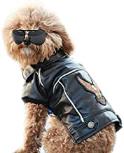Cuteboom Dog Winter Coat Pu Leather Motorcycle Jacket for Dog Pet Clothes Leather Jacket, Waterproof