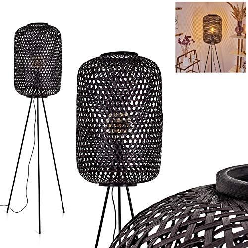 Stehleuchte Quinto, Bodenlampe aus Metall in schwarz, Stehlampe im Boho Style, Schirm aus schwarzen Korbgeflecht mit Lichteffekt, 1 x E27 max. 40 Watt, Fußschalter am Kabel