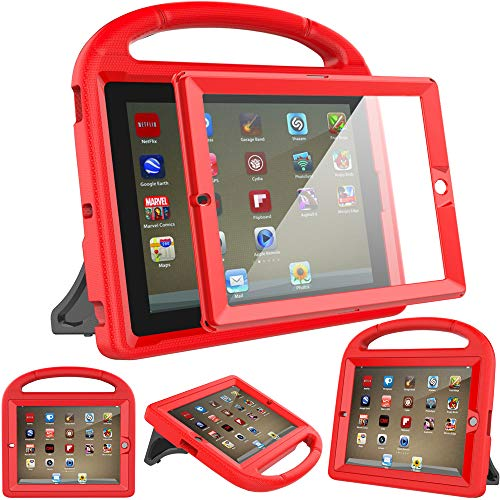 Surom Kids Case for iPad 2 3 4 (Old Model)- Built-in Screen Protector, Shockproof Handle Stand Kids Friendly Protective Case for iPad 2nd 3rd 4th Generation, Red