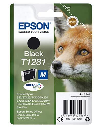 Epson T1281 Renard Noir, Cartouche d'encre d'origine,S22 SX125 SX130 SX230 SX235W SX420W SX425W SX430W SX435W SX440W SX445W BX305F BX305FW BX305FW Plus BX310FN