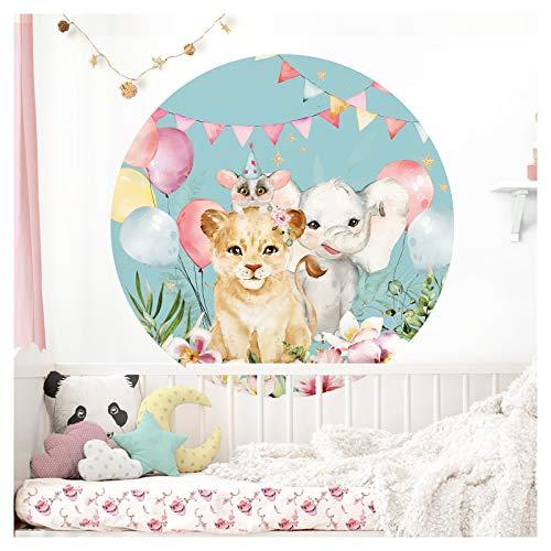 Little Deco runder Wandaufkleber Party Löwe & Elefant I Wandbild 60 cm Ø Farbe 4 I Luftballons Babyzimmer Wandsticker Kinder Wandtattoo Kinderzimmer Mädchen Deko DL566
