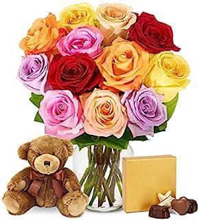 Flowers - One Dozen Rainbow Roses with Chocolates & Bear (Free Vase Included)