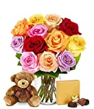 From You Flowers - One Dozen Rainbow Roses with Chocolates & Bear (Free Vase Included)