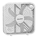PELONIS PFB50A2BWW 3-Speed Box Fan for Full-Force Circulation with Air Conditioner, White, 2020 New Model