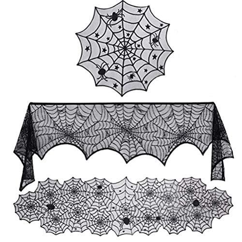 Delaspe Camino de mesa para Halloween, juego de 3 unidades, toalla de cocina, mantel redondo de telaraña, camino de mesa para Halloween, fiestas, adornos.