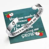 Ldurian Teachers Bracelet with Apple Bag, Thank You Teacher Gift, Inspirational Quote Bangle Cuff, Bracelet for Women, Present for Graduation, Goodbye, End of Year, Teachers Day, Retirement (Stainless Steel, Silver)