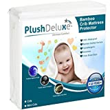 PlushDeluxe Mini Crib Mattress Protector 100% Waterproof, Hypoallergenic, Without Vinyl – Bamboo Quilted Ultra Soft White Terry Fitted Sheet Style