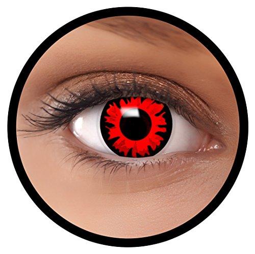 Farbige Kontaktlinsen rot Bella + Behälter, weich, ohne Stärke in als 2er Pack (1 Paar)- angenehm zu tragen und perfekt für Halloween, Karneval, Fasching oder Fastnacht Kostüm