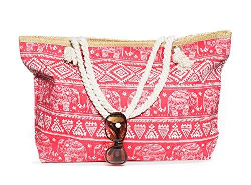 Kandharis Strandtasche Badetasche große Sommertasche Schultertasche Shopper mit Reissverschluss Elefant Ethnische Muster XL Damen ST-11 Pink Weiß