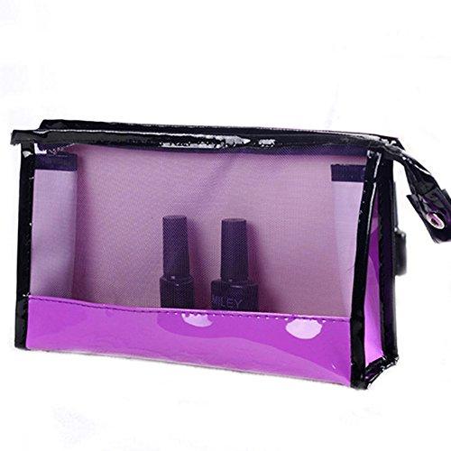 FEIYI Bolsa de viaje de PVC impermeable con cremallera transparente (color: morado)