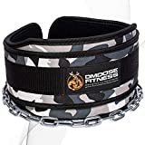 (Gray Camo) - Premium Dip Belt with Chain by DMoose Fitness - 90cm Heavy Duty Steel Chain