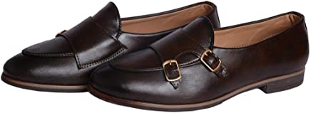 Hush Berry Men's Monk Coffee Brown Synthetic Leather Casual Formal Dress Loafers Moccasins Shoes (8)
