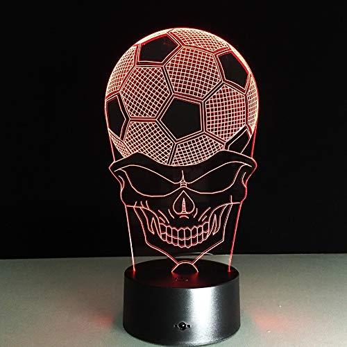 Jiushixw 3D acryl nachtlampje met afstandsbediening van kleur veranderende tafellamp voetbal Head Night Party aansteker eiken tafel Side Hall Light Bird maken