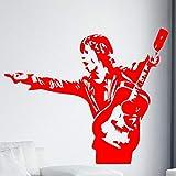 yaonuli Guitar Man Boy Wall Sticker Decorazione Camera da Letto Adesivo da Parete in Vinile Rimovibile Decorazione Domestica Impermeabile 54x37cm