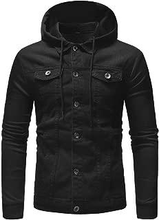 Mens' Autumn Winter Hooded Vintage Distressed Denim Jacket Tops Coat Outwear