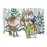 Cukol Kit Punto de Cruz Esquemas Alce Navidad, Cuadros Punto de Cruz Kit Completo Contado Patrones con Impresa Hilos y Tela para Principiantes Hacer, Set Kits Bordado a Mano Monigote de Nieve