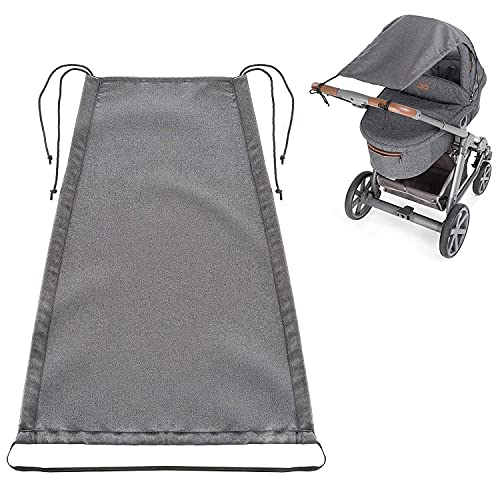 Zamboo Parasol Carrito Bebe Universal / Toldo silla paseo DELUXE / Protector solar para cochecitos y capazos enrollable con Protección solar UV 50+ - Gris