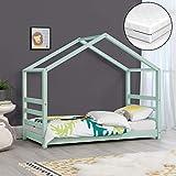 Kinderbett mit Matratze 70 x 140 cm Hausbett mit Kaltschaummatratze ÖKO-Tex Standard 100 Bettenhaus Jugendbett Holz Mintgrün