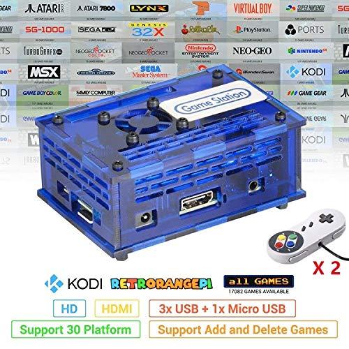 TAPDRA Station de Jeux vidéo Orange Pi PC Arcade avec 17082 Jeux, kit de Jeu rétro Carte Rapide 128 Go, Plug and Play, Port USB HDMI (2 manettes de Jeu incluses)