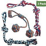 Homimp Hundespielzeug aus Seil, 3-teiliges Set, langlebig, dick, interaktives Spielzeug für mittelgroße, große und extragroße aggressive Hunde