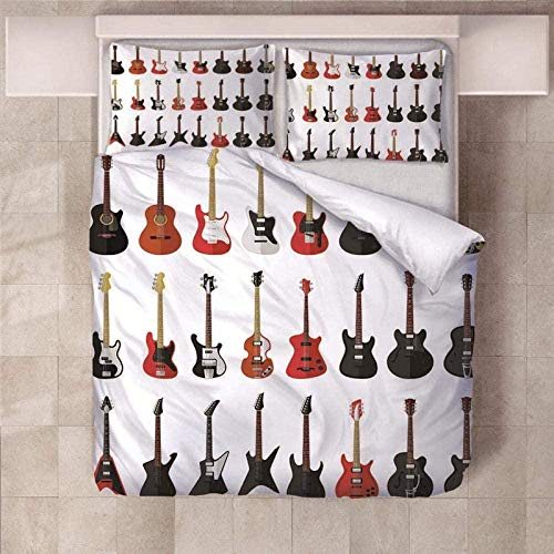 WZSZSA Impresa en 3D Juego de Funda de Edredón Guitarra roja Negra 140x200cm Juego de Ropa de Cama 3 Piezas 1 Funda Nórdica y 2 Funda de Almohada,Cierre de Cremallera Microfibra