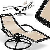 KESSER® Sonnenliege 'Bali' Liegestuhl 360° Schwingliege, Gartenliege, Relaxliege inkl. Kissen pflegeleicht, wetterbeständig, Comfort-Schwingbewegung, Liege stabiles Stahlrohr, Beige