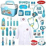 Buyger 35 pièces Déguisement de Docteur Jouet Costume Cosplay Jeu d'imitation Mallette Medecin Outils Médical Cadeau pour...