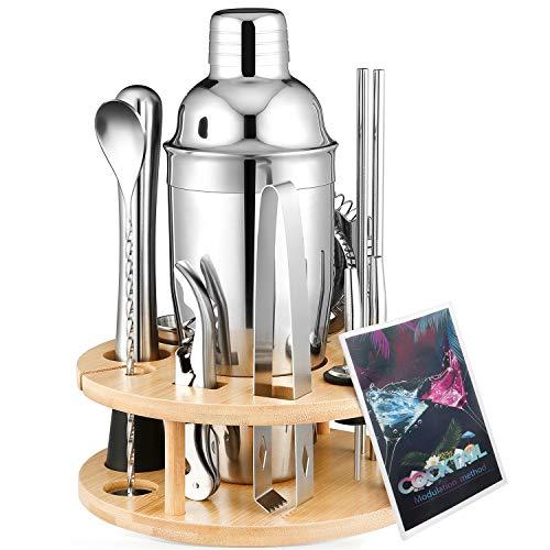 Kostlich Cocktail-Shaker Set 12-teilig Bargeschirr Kit mit drehbarem Holz Display Ständer 750ml Edelstahl Martini Shaker mit Messbecher, Trinkschlamm, Sieb und Eiszange