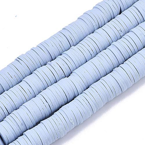 Cheris Distanzhalter, 8 mm, flach, rund, Polymer-Ton, 10 Stränge, 3200 Stück, handgefertigt, für hawaiianische Armbänder, Ohrringe, Schmuckherstellung, Hellstahlblau