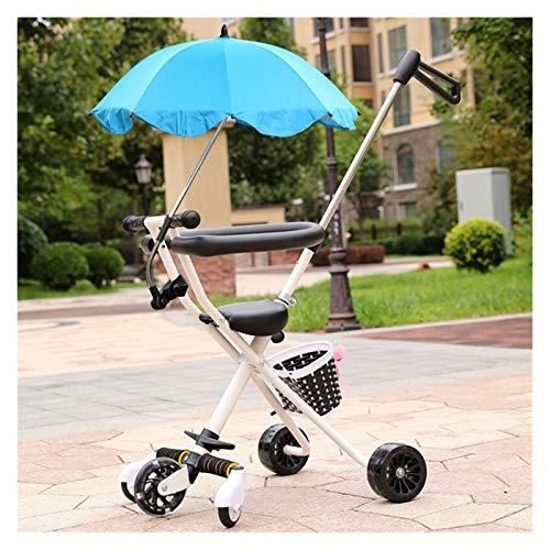 Youpin Carrito de bebé portátil triciclo para niños de 2 a 5 años de edad, carrito de niño scooter triciclo, mango ajustable para padres (color: W paraguas azul)