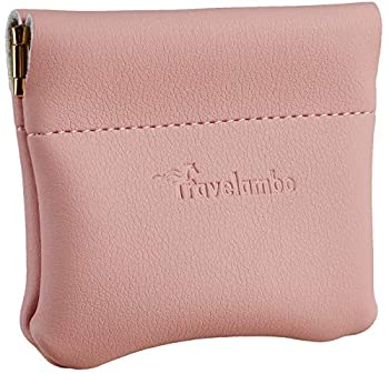 Travelambo Leather Squeeze Coin Purse Pouch Change Holder For Men & Women  Access Pink Lotus