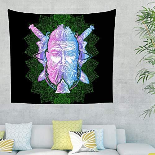 NiTIAN Viking Tapijtdoek Viking Beach Tapestry Yoga Mat, Home Decor voor slaapkamer en woonkamer