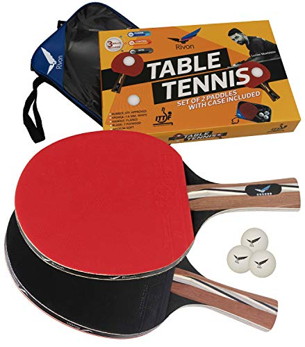 Rivon Ping Pong Paddles and Balls  Table Tennis Paddle/Racket Set with 2 Rackets 3 Balls and Travel Case  ITTF Approved Rubber  Endorsed by Celebrity Player