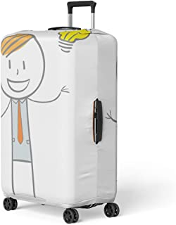 Pinbeam Luggage Cover Yellow Man Doodle Stick Figure Businessman Big Idea Travel Suitcase Cover Protector Baggage Case Fits 22-24 inches