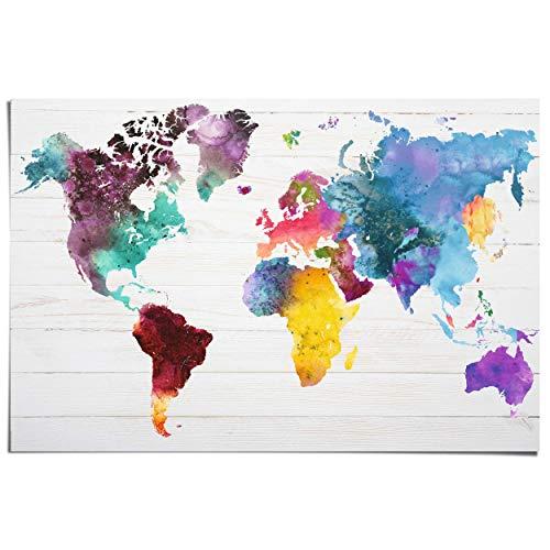 Maxi Poster Wereldkaart aquarel - 91 x 61 cm Woonkamer