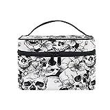 Makeup Bag, Sugar Skull Flower Print CosmeticToiletry Storage Large Travel Handle...