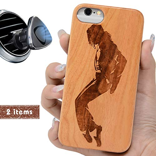 iProductsUS Wood Phone Case Compatible with iPhone 8 Plus, 7 Plus, 6 Plus, 6s Plus and Magnetic Mount, Engraved Michael Jackson, Built-in Metal Plate, TPU Protective Cover (5.5 inch)