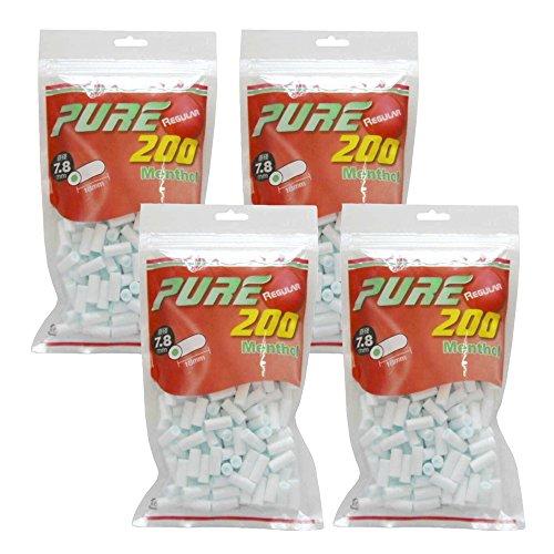 pure ピュア レギュラー メンソール フィルター 200個入り ×4パック 手巻きタバコ