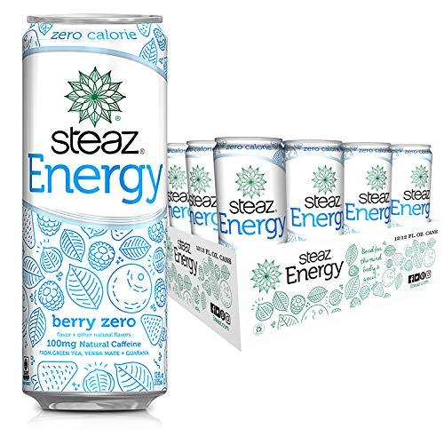 Steaz Organic Zero Calorie Energy Drink, Berry, 12 FL OZ (Pack of 12)