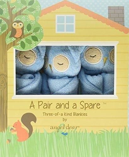 Angel Dear Pair and a Spare 3 Piece Baby Blankie Set-Owl Blue