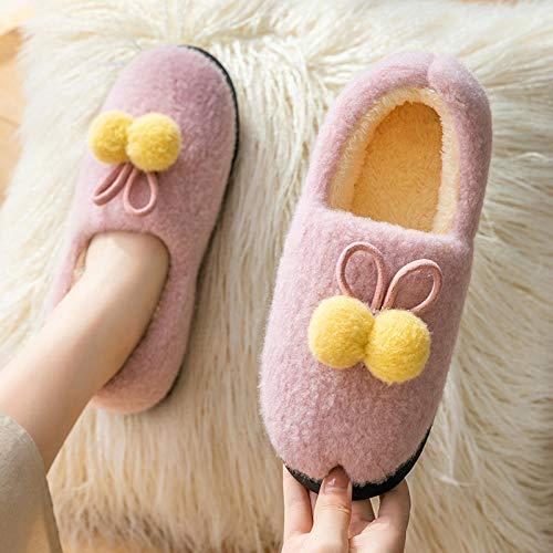 Zapatillas de interior cálidas zapatillas de dormitorio,Zapatillas de invierno con tacón envuelto,zapatos de suela para embarazadas en casa-pink_36-37,Zapatillas de hombre y mujer de felpa de algodón