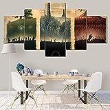 wodclockyui 5 Piezas Cuadro de Lienzo - El señor de los Anillos Escena Pintura 5 Impresiones de imágenes Decoración de Pared para el hogar Pinturas y Carteles de Arte HD 200cmx100cm sin
