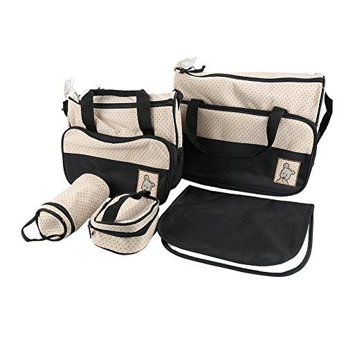 VENDEUR PRO 5tlg Babytasche Set Pflegetasche Tragetasche Wickeltasche Windeltasche Kinder Baby 6 Farbe (Schwarz)