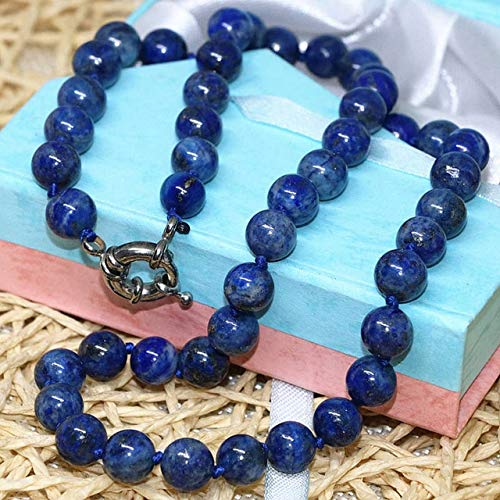 K-ONE Fashion Natural Stone Blue Lapis Lazuli Beads 6Mm 8Mm 10Mm 12Mm 14Mm Round Beads DIY Necklace Elegant Gift Jewelry 18Inch B667