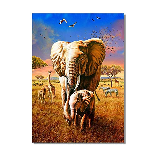 Sabana africana elefante jirafa lienzo arte pintura carteles e impresiones escandinavos cuadros sala de estar sin marco decoracin mural K67 40x60cm