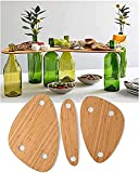 Wine Bottle Topper Serving Tray Set, Wooden Outdoor Picnic Table Charcuterie Board Tray, Snack and Cheese Holder Tray for Backyard Camping, Garden, Travel (1Set)