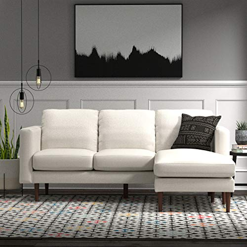 "Amazon Brand – Rivet Revolve Modern Upholstered Sofa with Reversible Sectional Chaise, 80""W, Linen"