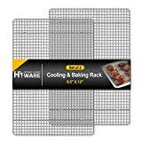Hiware 2-Pack Cooling Racks for Baking - 8.5' x 12' - Quarter Size - Stainless Steel Wire Cookie Rack Fits Quarter Sheet Pan, Oven Safe for Cooking, Roasting, Grilling