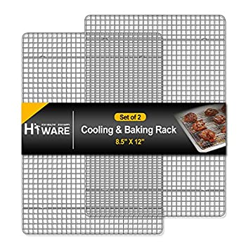Hiware 2-Pack Cooling Racks for Baking - 8.5  x 12  - Quarter Size - Stainless Steel Wire Cookie Rack Fits Quarter Sheet Pan Oven Safe for Cooking Roasting Grilling